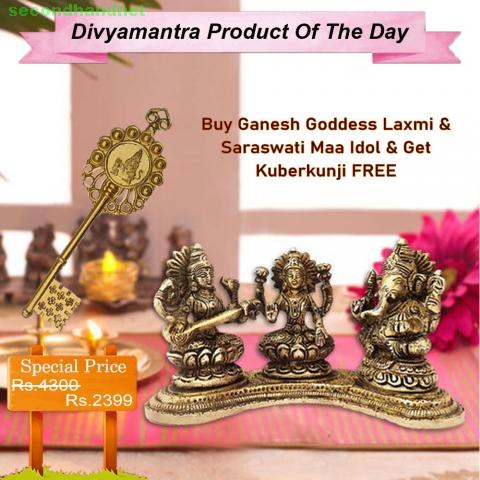 Buy Ganesh Goddess Laxmi & Saraswati Maa Idol & Get Kuberkunji FREE
