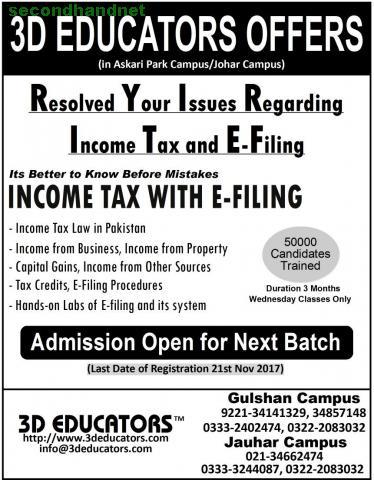 "3d Educators Offers ""Income Tax with E-Filing"" Karachi, Pakistan"